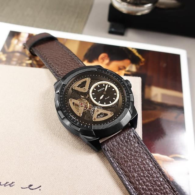 【FOSSIL】復古潮流 機械錶 自動上鍊 鏤空錶盤 壓紋真皮手錶 深褐x黑框 50mm(ME1172)