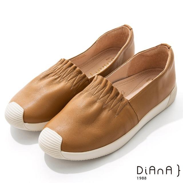 【DIANA】2.5cm羊皮抓皺鞋口厚底休閒鞋-漫步雲端焦糖美人(棕)