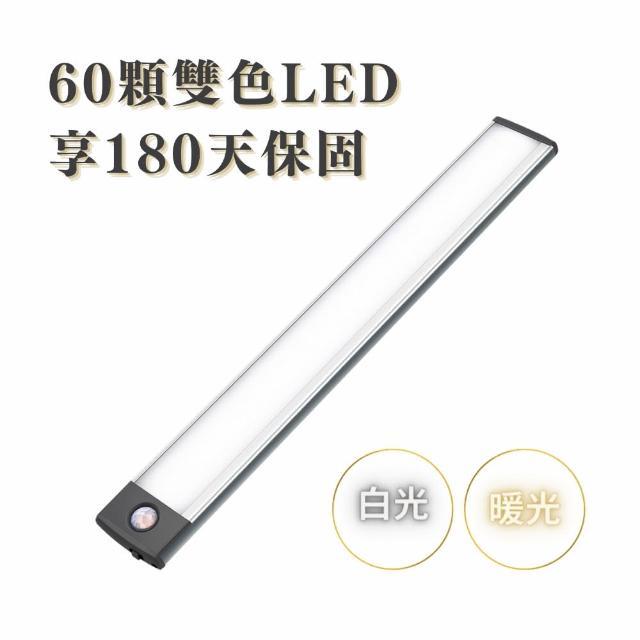 【WEIBO】無線LED自動平板調光感應燈-LI3360L 60雙色LED(LED光線偵測 紅外線感應 磁吸式)