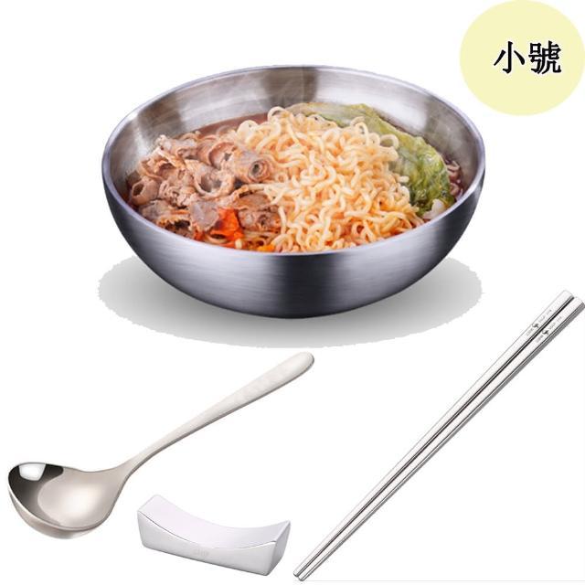 【PUSH!】餐具304不銹鋼碗加厚雙層隔熱湯碗沙拉碗泡麵碗(碗筷勺筷托組合小號E164- 1)