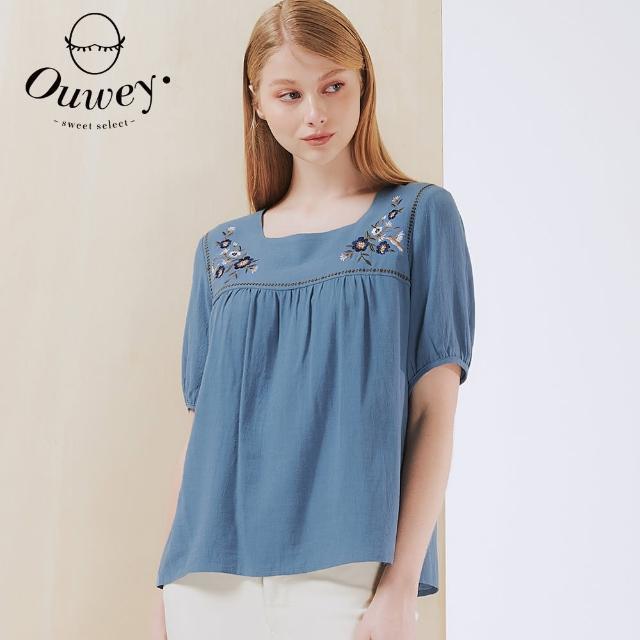 OUWEY 歐薇【OUWEY 歐薇】縲縈混麻花朵刺繡方領上衣3212081019(藍)