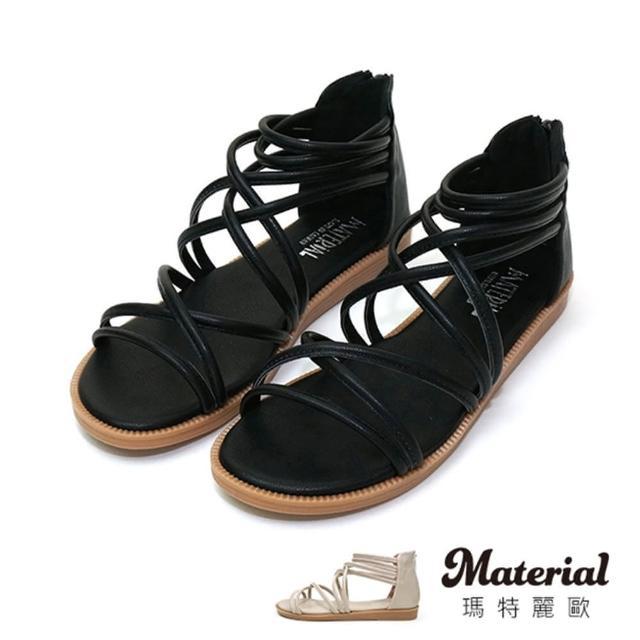 【MATERIAL】涼鞋 加大細帶交叉環繞羅馬涼鞋 MA女鞋 TG1012(涼鞋)