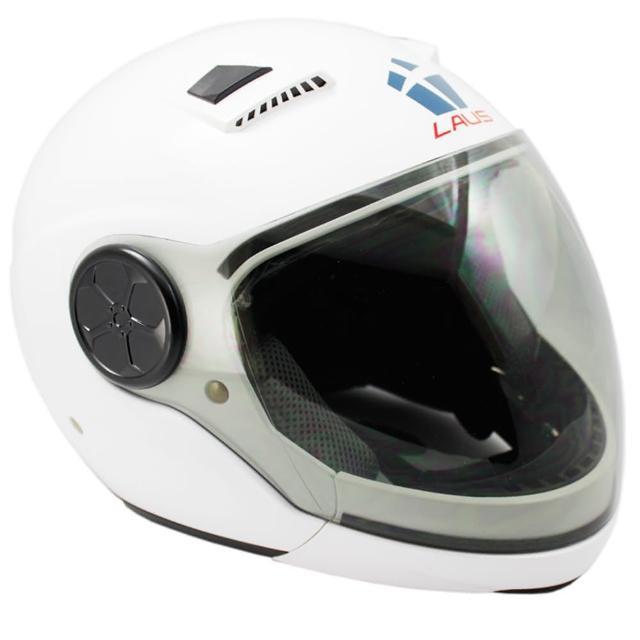 LAUS全罩下巴可拆式內置墨鏡素色安全帽-白色