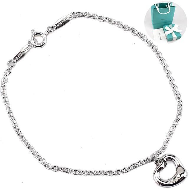 【Tiffany&Co. 蒂芙尼】Open Heart心型墜飾925純銀手鍊