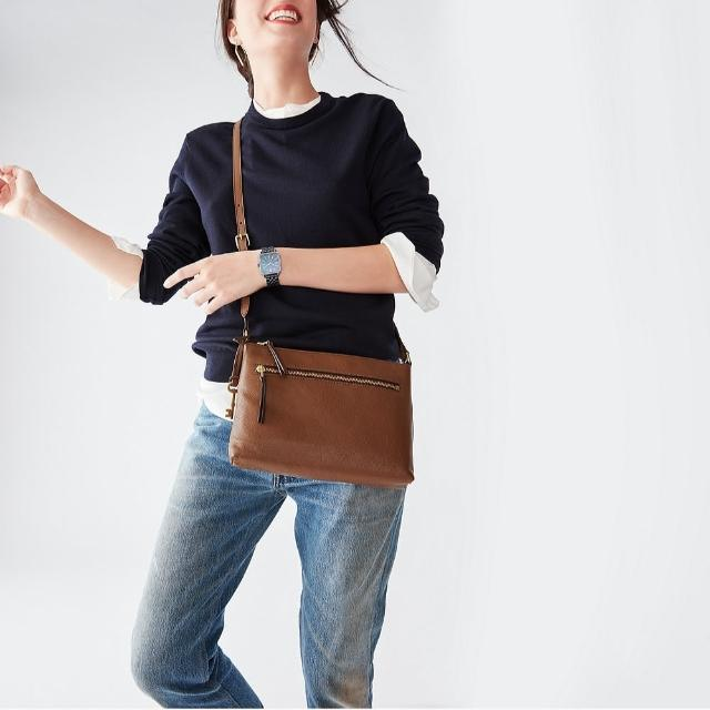 【FOSSIL】Fiona 真皮輕便休閒斜背包-咖啡色 ZB1542200(可拆式內袋)