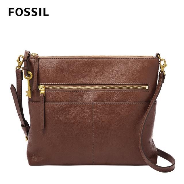 【FOSSIL】Fiona 真皮輕便休閒斜背包 大款-咖啡色 ZB1543200(可拆式內袋)