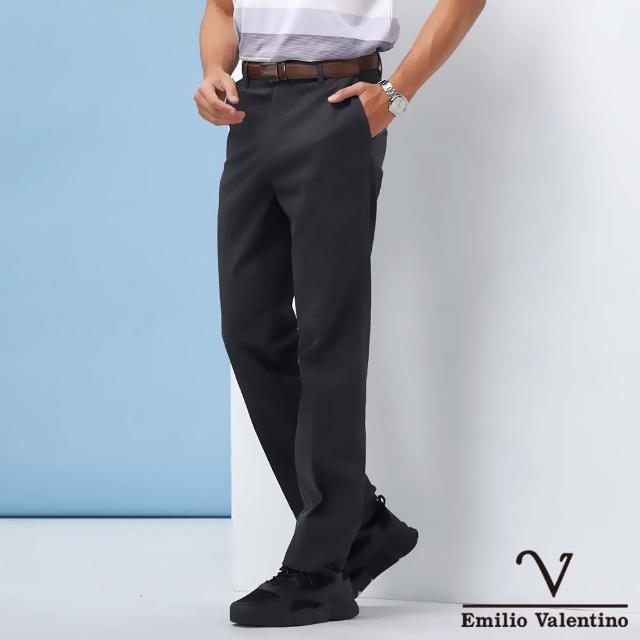 【Emilio Valentino 范倫鐵諾】男裝 精選高質感彈力素面平面休閒褲_黑灰(70-1A5711)