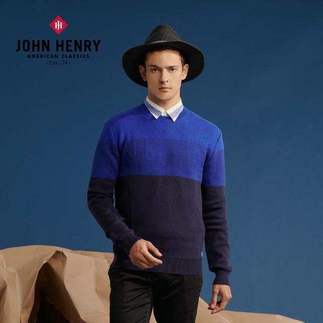 【JOHN HENRY】撞色拼接長袖毛衣