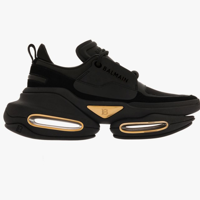 【BALMAIN】時尚街頭風Logo 拼接氣墊球鞋(黑)
