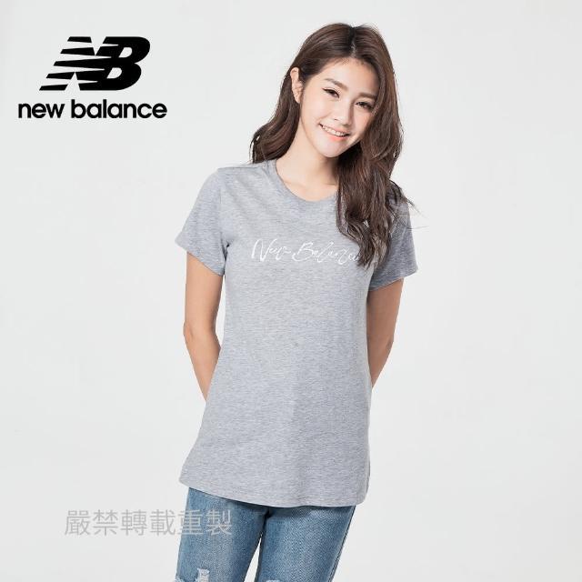 【NEW BALANCE】NB 草寫品牌短袖T_女款_灰色_WT11808AG(美版 版型偏大)