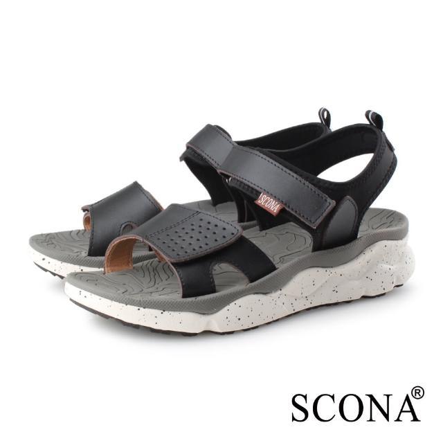 【SCONA 蘇格南】真皮 運動休閒舒適涼鞋-男款(黑色 1752-1)