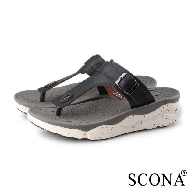 【SCONA 蘇格南】真皮 運動休閒舒適夾腳涼鞋-男款(黑色 1751-1)