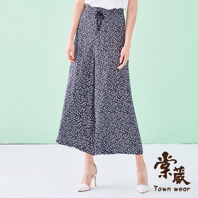 【TOWN'WEAR 棠葳】涼感花卉綁帶寬褲