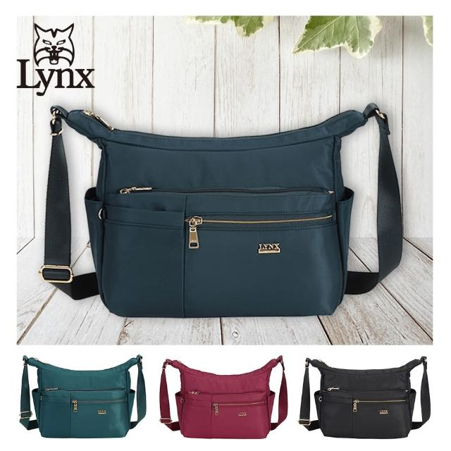 【Lynx】美國山貓輕量尼龍布包多隔層機能斜背包(藍/綠/紅/黑 多色賣場)