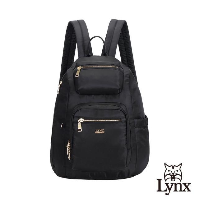 【Lynx】美國山貓輕量尼龍布包多隔層機能後背包 手提/雙肩(黑色)