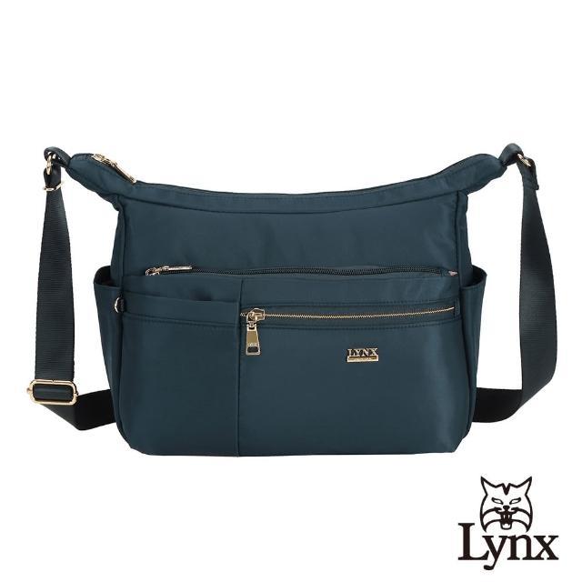 【Lynx】美國山貓輕量尼龍布包多隔層機能斜背包(深藍色)