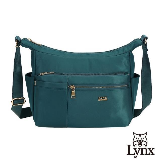【Lynx】美國山貓輕量尼龍布包多隔層機能斜背包(墨綠色)