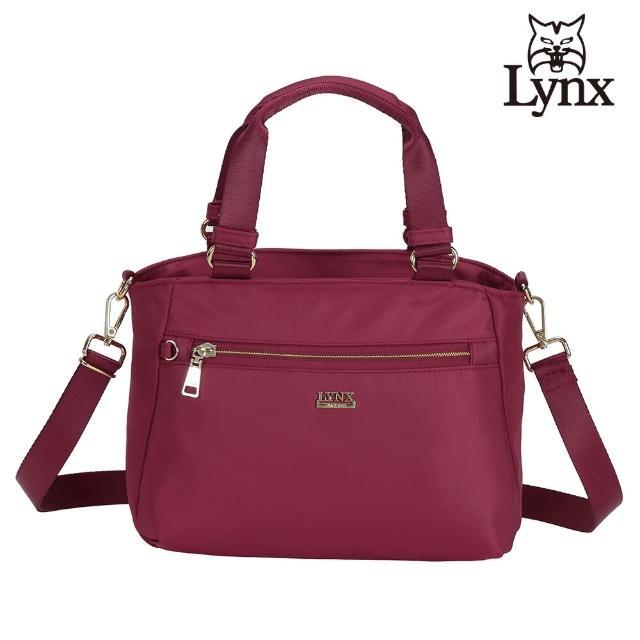 【Lynx】美國山貓輕量尼龍布包多隔層機能兩用包 手提/斜背(紅色)