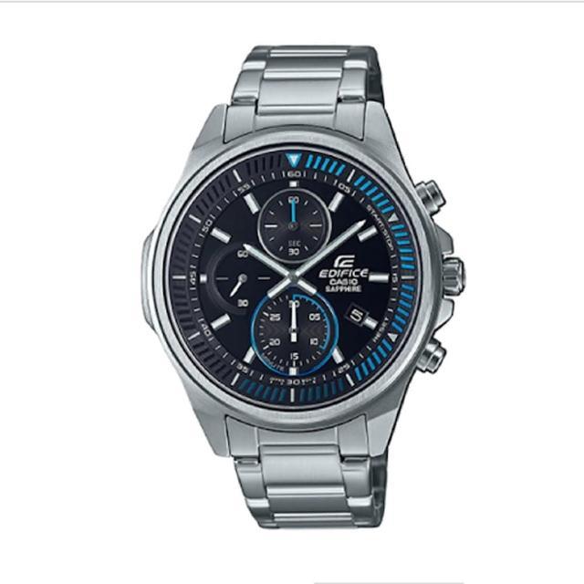 【CASIO 卡西歐】EDIFICE汽車動感風輕薄三眼三針藍寶石玻璃鏡面不鏽鋼休閒錶-銀X黑(EFR-S572D-1A)