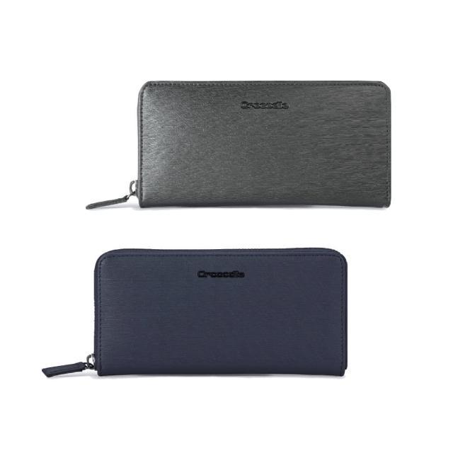 【Crocodile】鱷魚皮件 真皮皮夾 14卡 拉鍊 長夾 手拿包-0103-10407-原廠公司貨(維也納Wien系列)