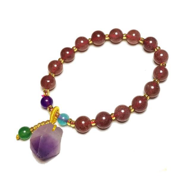 【十方佛教文物】紫晶柱+草莓晶手珠8mm(大悲咒加持108遍以上)