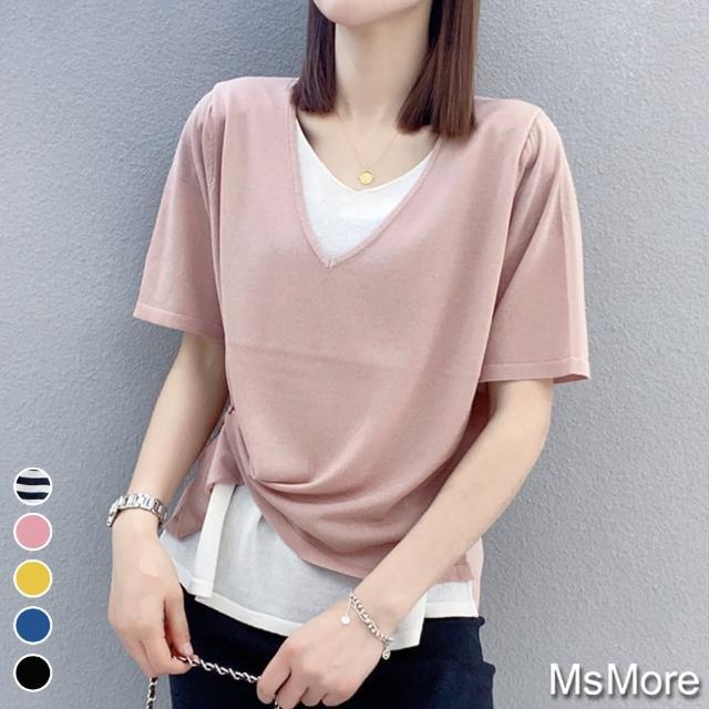【MsMore】亞麻感冰絲針織時尚假2件寬鬆上衣#109509現貨+預購(5色)