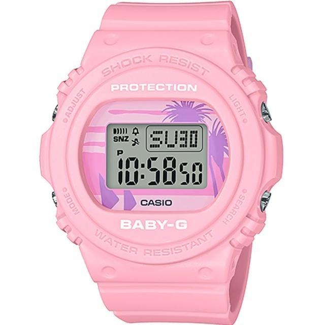 【CASIO 卡西歐】BABY-G 復古夏日海灘風情電子錶-粉紅(BGD-570BC-4)