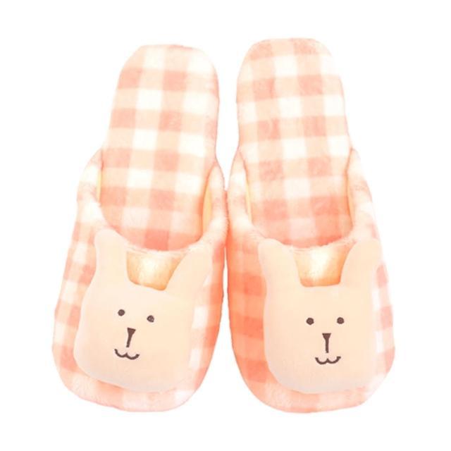 【CRAFTHOLIC 宇宙人】多汁蜜桃格紋兔室內拖鞋-加大(多汁系列)