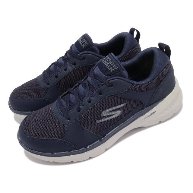 【SKECHERS】休閒鞋 Go Walk 6-Compete 男鞋 機能 健走鞋 輕量 穩定 支撐 避震 藍 灰(216203NVY)