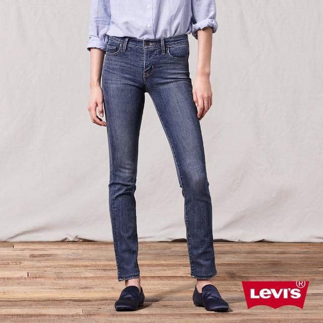 【LEVIS】女款 312中腰縮腹修身窄管牛仔長褲 / 精工深藍染刷白 / 彈性布料-熱銷單品
