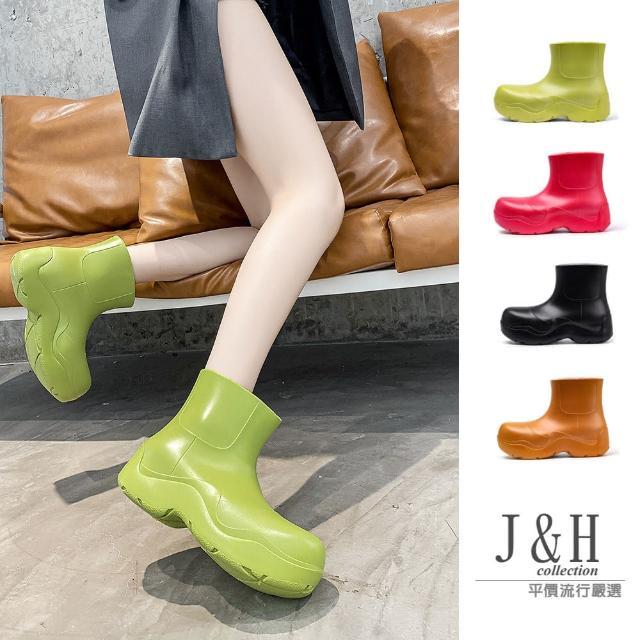 【J&H collection】新款增高軟底圓頭雨鞋(現+預 桃紅色 / 綠色 / 奶白色 / 棕色 / 黑色)