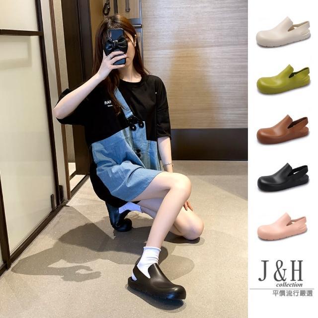 【J&H collection】果凍感增高軟底圓頭防水涼鞋(現+預 綠色 / 焦糖色 / 粉色 / 米白色 / 黑色)