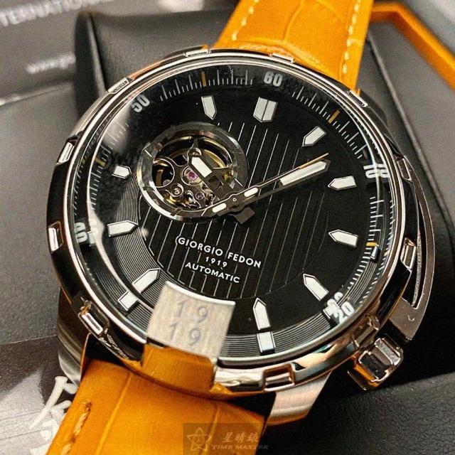 【GIORGIO FEDON 1919】喬治飛登1919男錶型號GF00014(黑色錶面銀錶殼黃真皮皮革錶帶款)