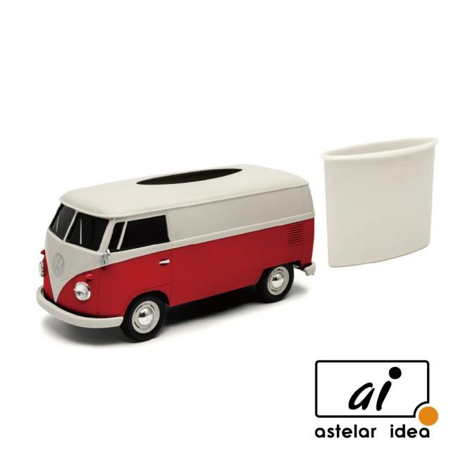 【astelar idea】WELLY 復古經典雙色Volkswagen T1汽車面紙盒 Tissue Box(紅)