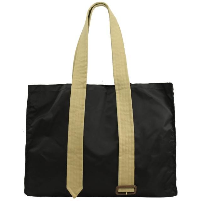 【BURBERRY 巴寶莉】撞色皮帶造型尼龍大容量購物包旅用包(黑)