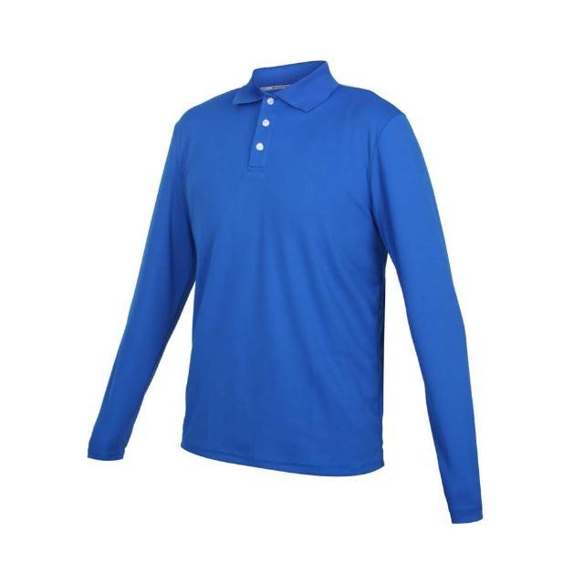 【HODARLA】男女星際吸濕排汗長袖POLO衫-台灣製 慢跑 休閒 上衣 高爾夫 藍(3161303)