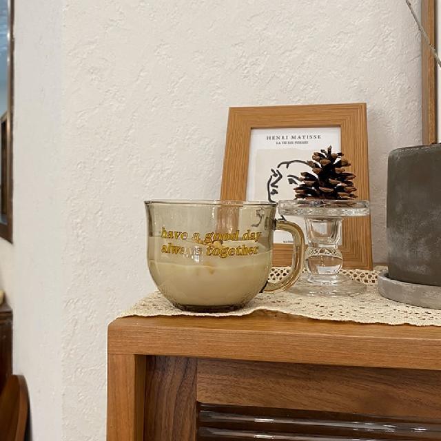 【防疫必備】美好日子大容量 玻璃杯 500ml 早餐杯 馬克杯 玻璃杯 隔熱杯 咖啡杯 茶杯(玻璃杯)