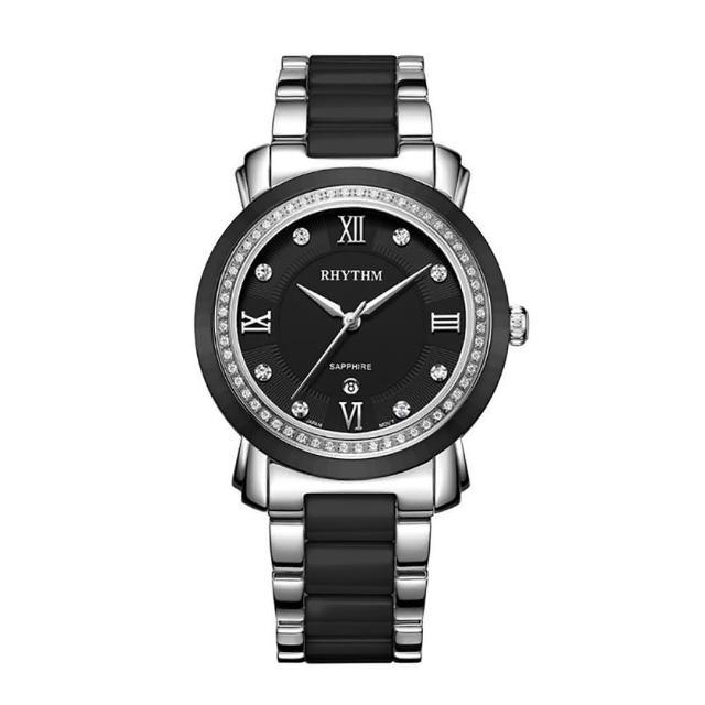 【RHYTHM 麗聲】歐式英倫風格陶瓷腕錶F1303T02(黑/半陶瓷錶帶)
