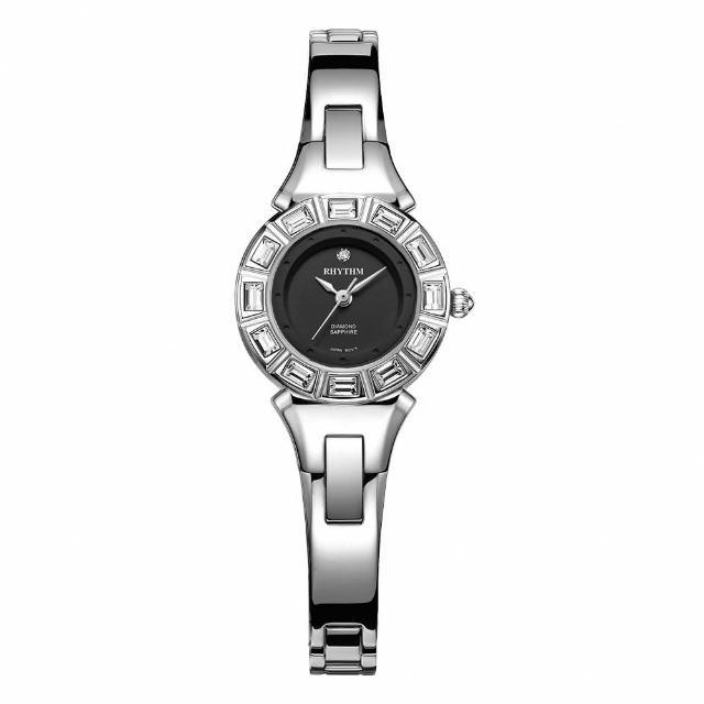 【RHYTHM 麗聲】都會典雅石英腕錶L1301S02(黑/不鏽鋼錶帶)