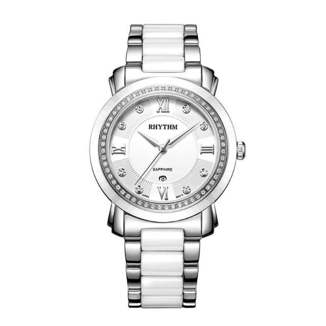 【RHYTHM 麗聲】歐式英倫風格陶瓷腕錶F1303T01(白/半陶瓷錶帶)