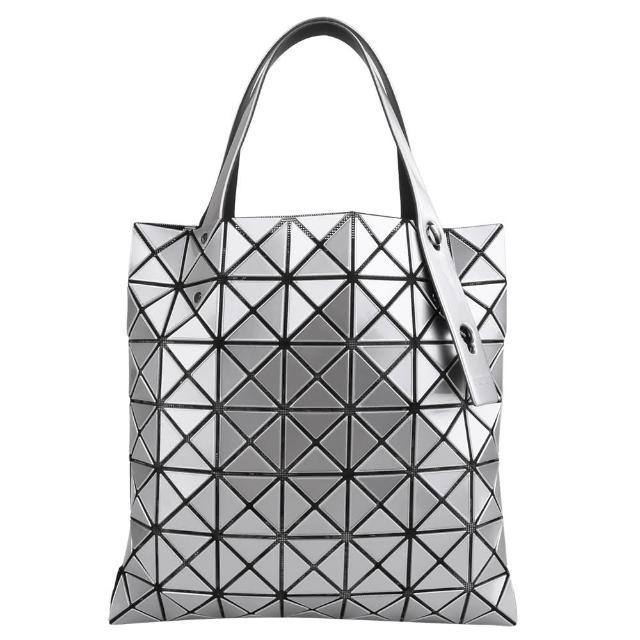 【ISSEY MIYAKE 三宅一生】BAOBAO幾何小菱格7x7手提包(銀/亮面)
