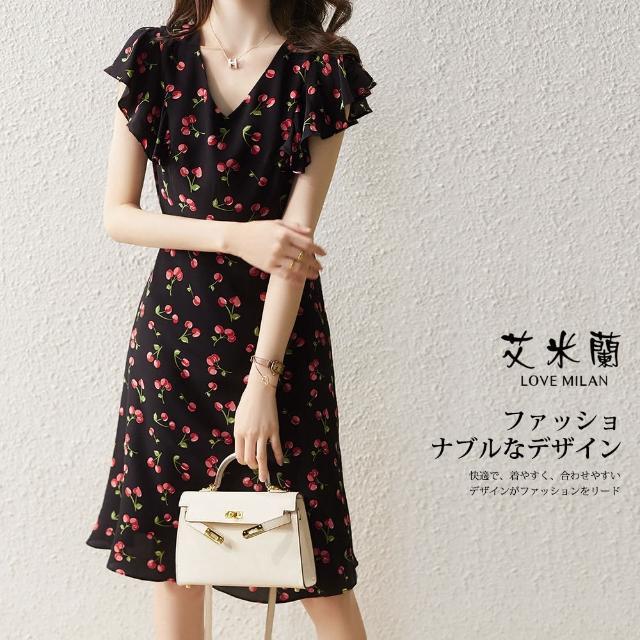 【艾米蘭】韓版復古優雅V領印花造型洋裝(M-XL)