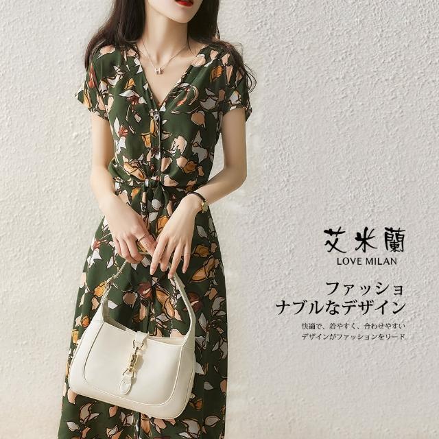 【艾米蘭】韓版甜美優雅V領收腰造型洋裝(M-XL)