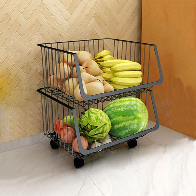 【HappyLife】可移動廚房收納籃 兩層 Y10162(收納架 瓶罐收納 收納車 附輪收納車 置物架 廚房收納)