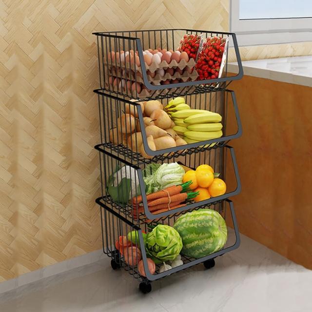 【HappyLife】可移動廚房收納籃 四層 Y10164(收納架 瓶罐收納 收納車 附輪收納車 置物架 廚房收納)