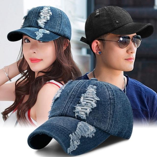 【89 zone】韓版休閒時尚破洞軟頂牛仔彎簷棒球帽/防曬帽/遮陽帽(深藍)