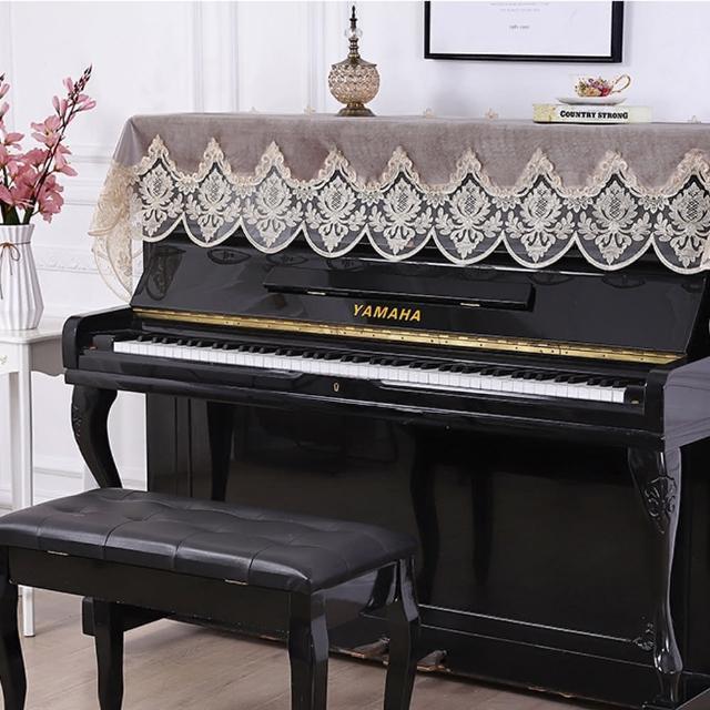 【美佳音樂】鋼琴罩/防塵罩/鋼琴蓋布 歐式刺繡蕾絲系列-灰棕色(鋼琴罩)