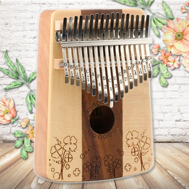 【美佳音樂】Kalimba 卡林巴琴/拇指琴-超值全配.17音雲杉木搭玫瑰木-幸運草(贈旅行包)