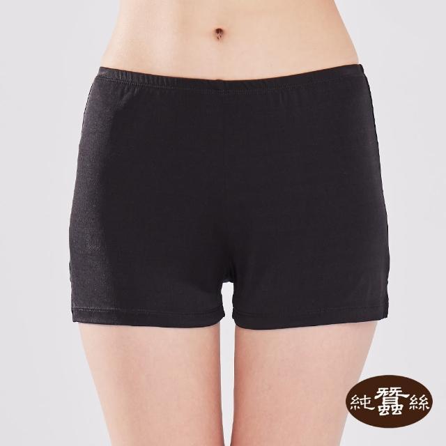 【岱妮蠶絲】純蠶絲42針110G舒柔親膚女短衛生褲-EWCABN796A(素色黑)