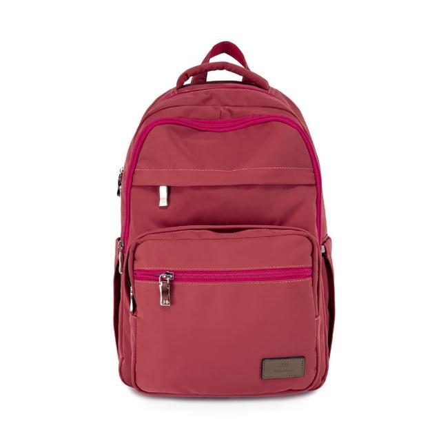 【J II】後背包-無限多隔層防潑水後背包-梅子紅-6377-25(後背包)